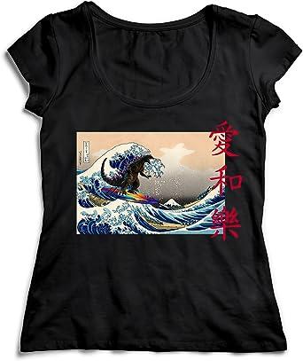 MYMERCHANDISE Japanese Waves Godzilla Love Peace Happines T ...