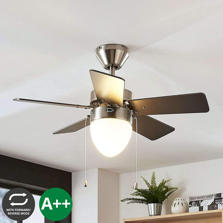 Ventilador de techo con lámpara 'Ante' (Moderno) en Gris hecho de Madera e.o. para Dormitorio (1 llama, E27, A++) de LAMPENWELT   Ventilador