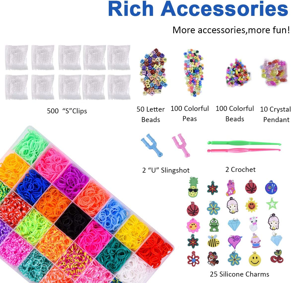 Yehtta Gifts for 5-10 Year Old Girls Rainbow Rubber Bands Loom Kit Kids Art Crafts DIY Toys Bracelet Making Kit Personalized Handmade Beads Rubber Hair Band Christmas Birthday Gift for Kids