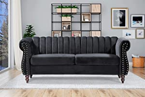"""Container Furniture Direct Quinones Modern Chesterfield Channel Tufted Sofa with Nailhead Accents, 76.4"""", Black"""
