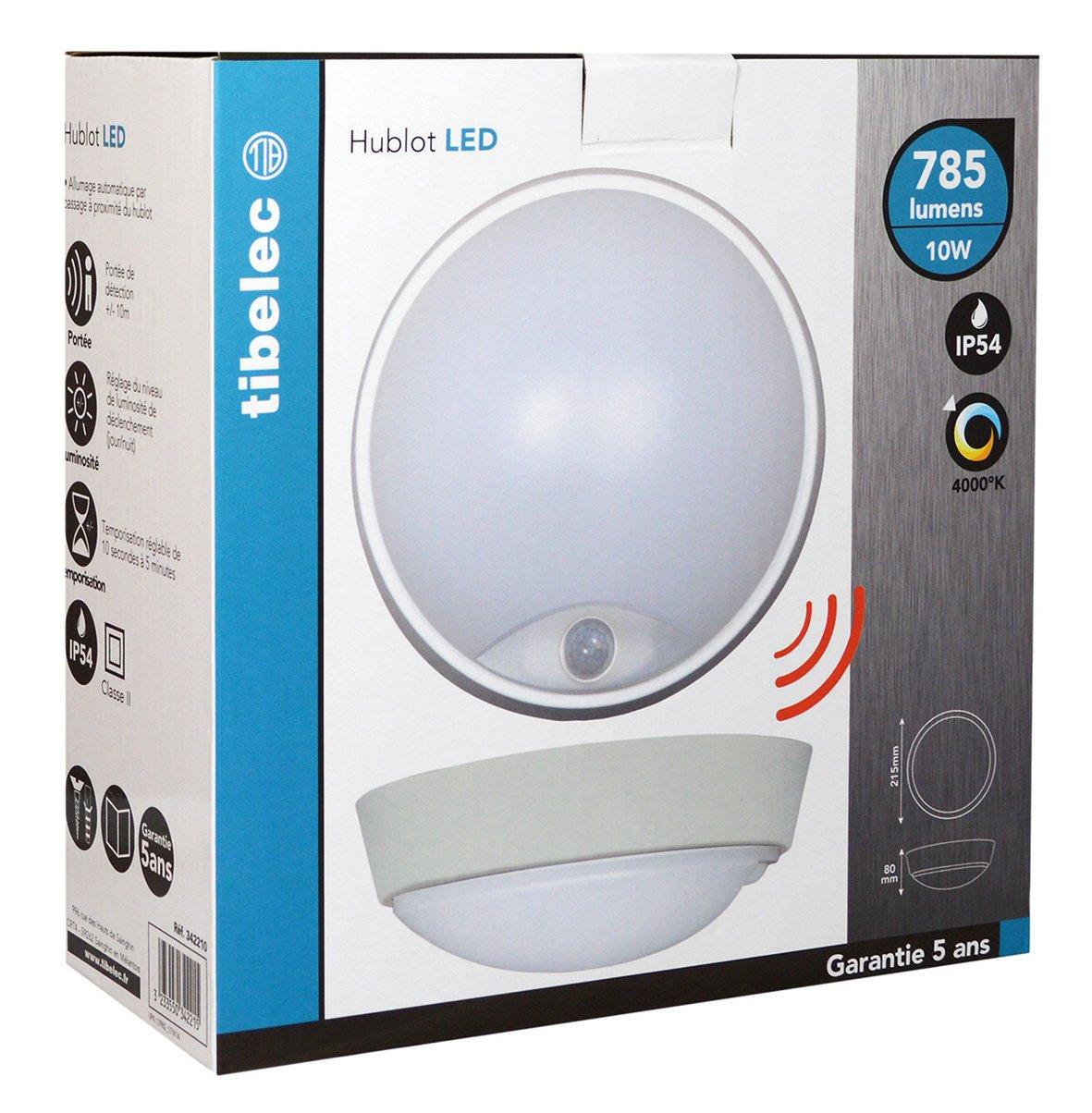 Tibelec 342210 - ojo de buey LED redondo con detector de movimiento, plástico, 10 W, blanco, 80 x diámetro 215 mm: Amazon.es: Iluminación