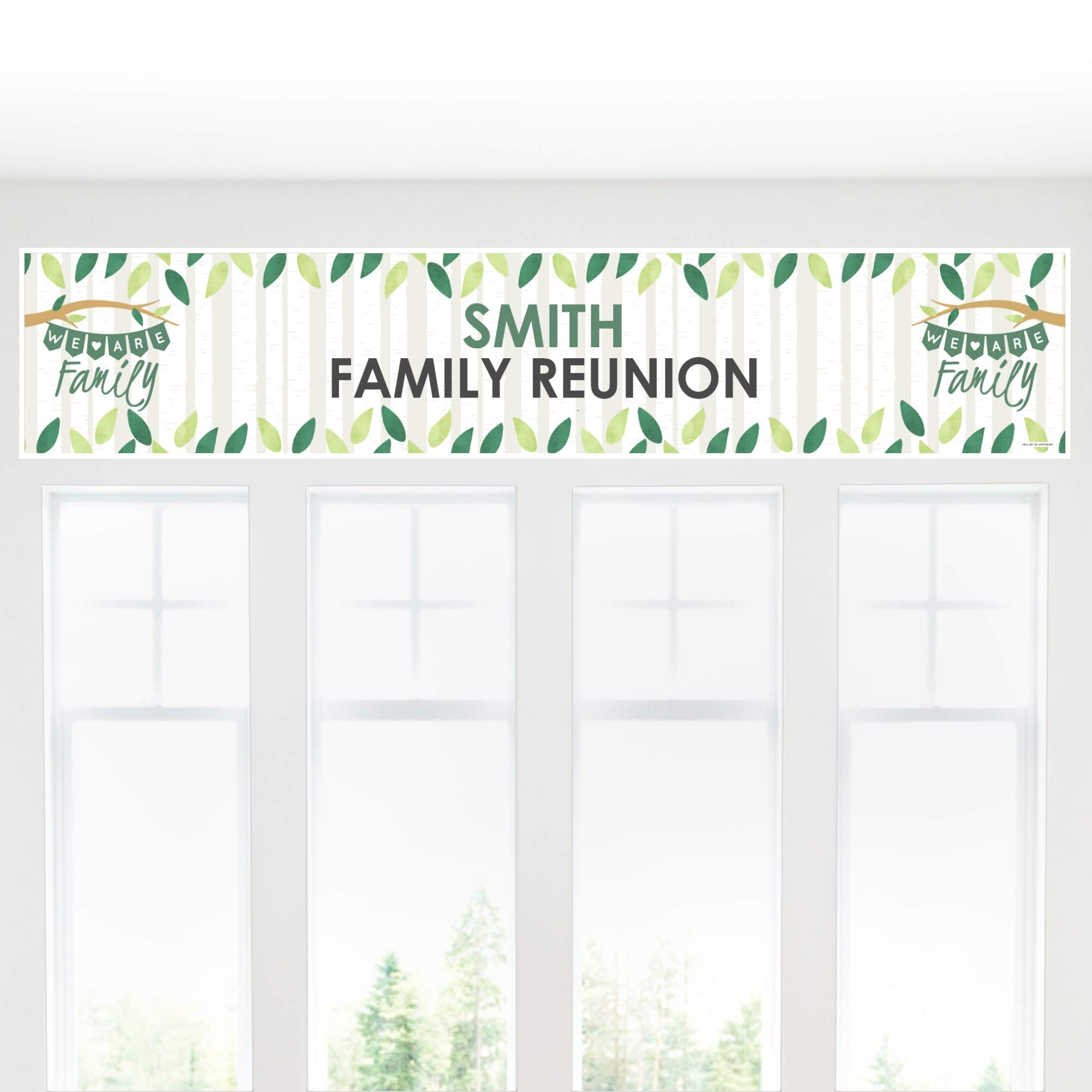 Big Dot of Happiness Personalized Family Tree Reunion - Custom Family Gathering Party Decorations Party Banner