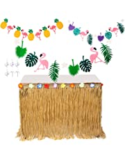 MIMIEYES Hawaiian Luau Table Skirt with Tropical Flowers and Banners for Garden Beach Summer Tiki BBQ Party Decorations (Yellow)