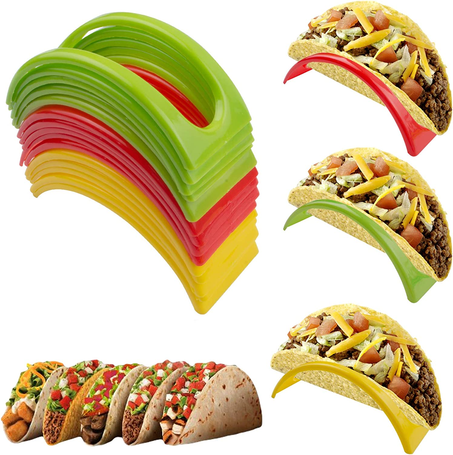 24 Pcs Taco Holders, BPA Free Taco Holder Stand, Taco Tray Taco Shell Holder, Microwave Safe Taco Rack Taco Plate for Taco Tuesday Taco Bar Taco Party Supplies (Red, Yellow, Green)