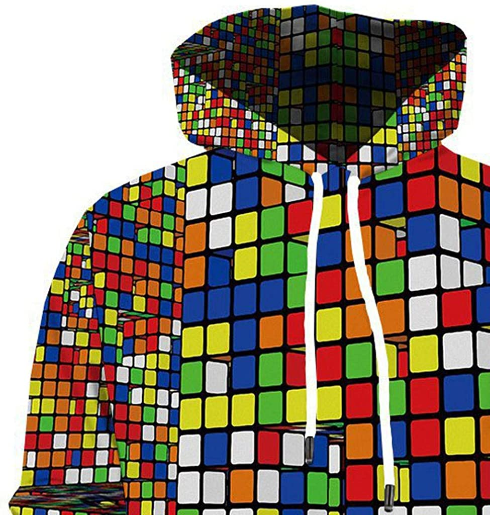 Mens Casual Hoodie Outwear Long Sleeve Tracksuit Tops 3D Square Patern Sweatshirts for Autumn