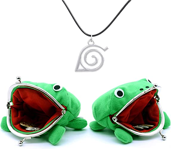 Keast 2 Pack Anime Cosplay Plush Frog Coin Purse, Cartoon Animal Frog Coin Bag Coin Pouch Key Credit Card Holder Novelty Toy School Prize Gifts Christmas Gift for Kids, Come with Pendant Necklace