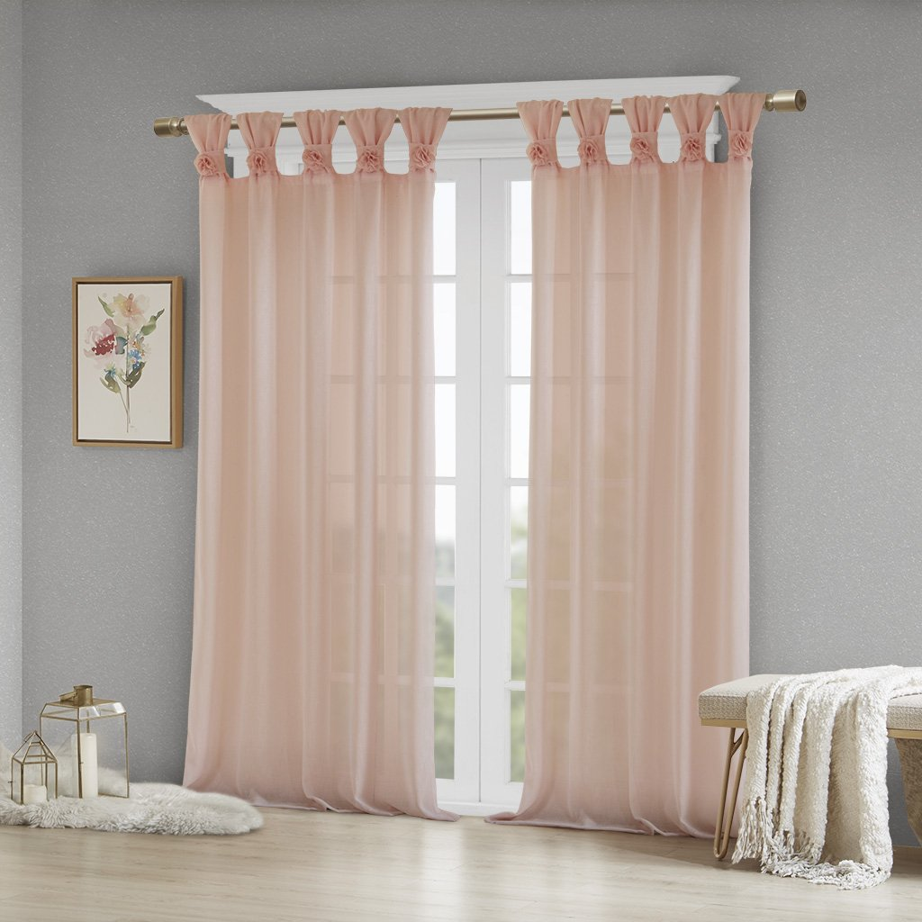 50 W x 84 L Blush Madison Park Rosette Floral Embellished Cuff Tab Top Solid Window Treatments Curtain Panel Drape for Bedroom Living Room and Dorm
