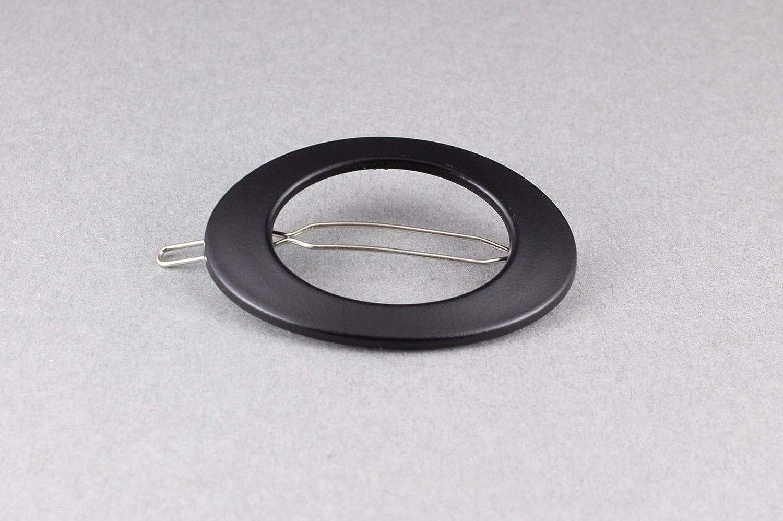 Black oval barrette outline plastic shape small metal hair clip accessory