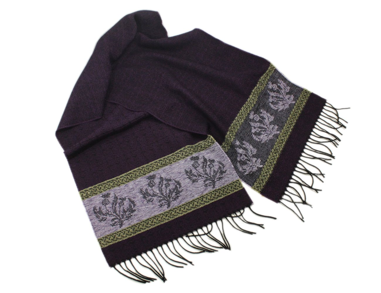 Calzeat Celtic Scarf Wool & Chenille 70'' by 14'' Purple Made in Scotland