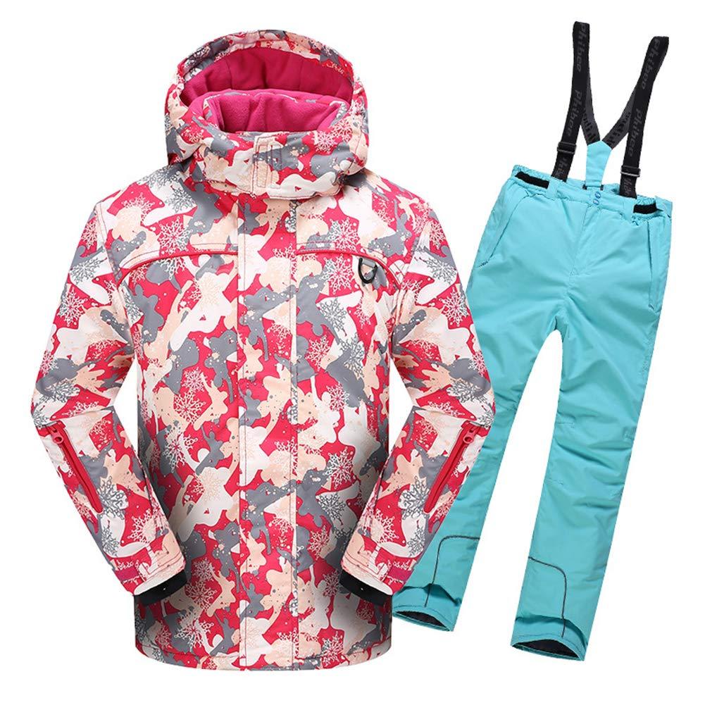 Rose&bleu Clair 116-122 7ans LPATTERN Enfant Fille Garçon Manteau de Ski 2 Pièces Sapolette Ski VêteHommest Sport Hiver