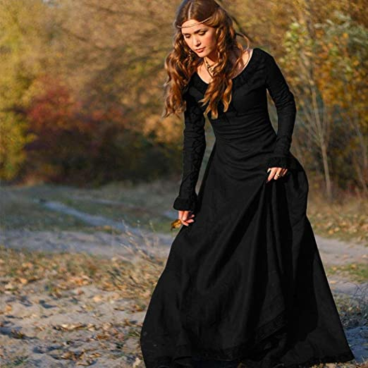 Amazon.com: Dressin Womens Solid Long Sleeve Vintage Medieval Dress Cosplay Costume Princess Renaissance Gothic Dress Holiday Dress Evening Party Prom Long ...