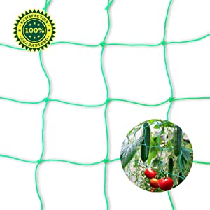 Bamzhu Heavy-Duty Nylon Garden Plant Trellis Netting Elastic Plant Support Vine Net Climbing Garden Trellis Net Cucumber Trellis Scrog Net (6' x 16.5'Ft,4