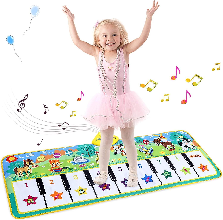 Tappeto Musicale Bambini Pianoforte Mat Tappetini da Ballo elettronici Musicale Tocco Piano Tastiera Playmat Bambini Educativo Giocattolo per Bambini con 8 Suoni di Animali