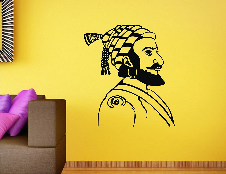 Buy Heaven Decors Chatrapati Shivaji Maharaj Black Wall Decal And ...