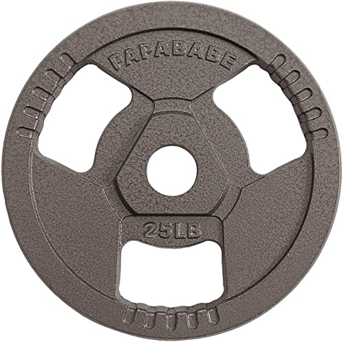 PAPABABE Weight Plates 2-Inch Olympic Grip Plate Sets for Strength and Conditioning Workouts and Weightlifting