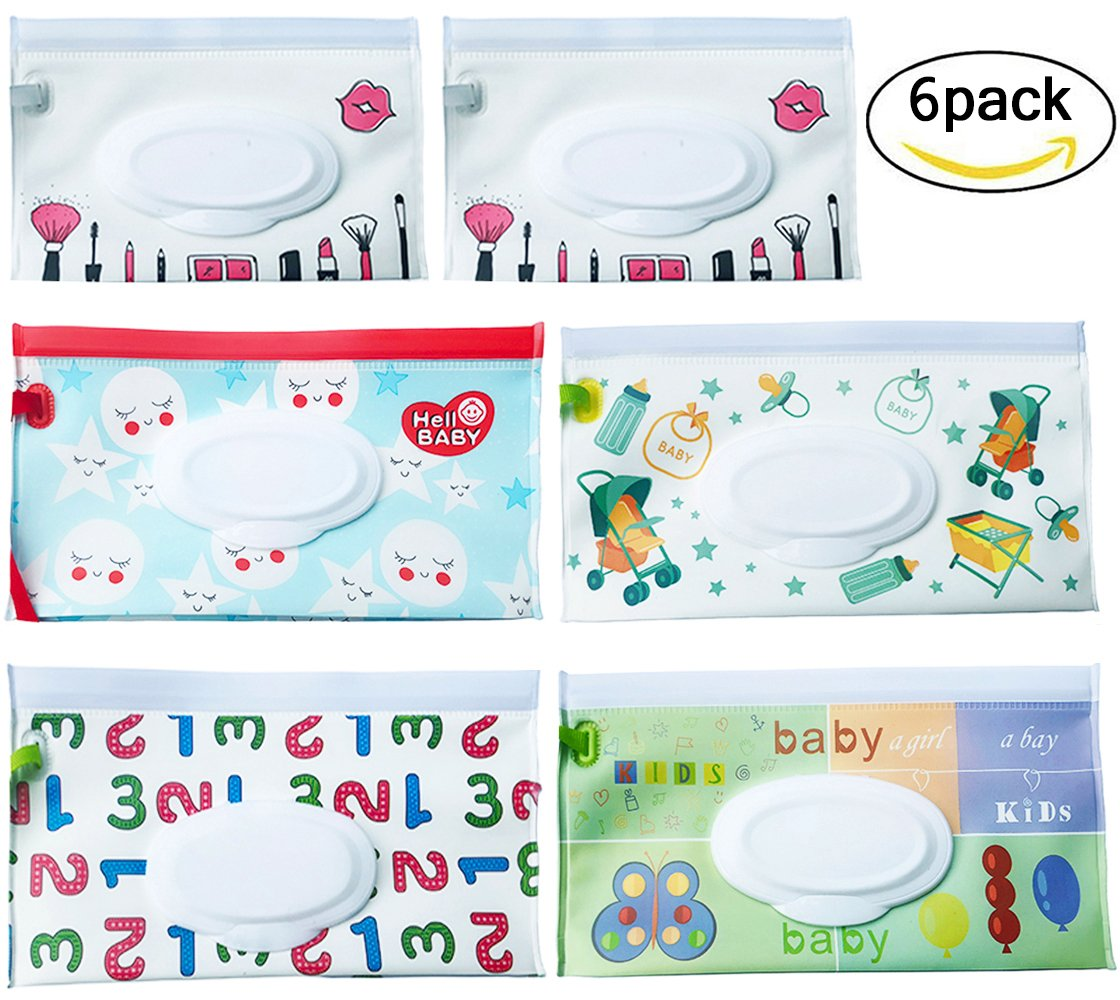 Reusable Wet Wipe Pouch [Set of 6] - Dispenser for Baby or Personal Wipes - Wet Wipe Portable Travel Cases (Cartoon)