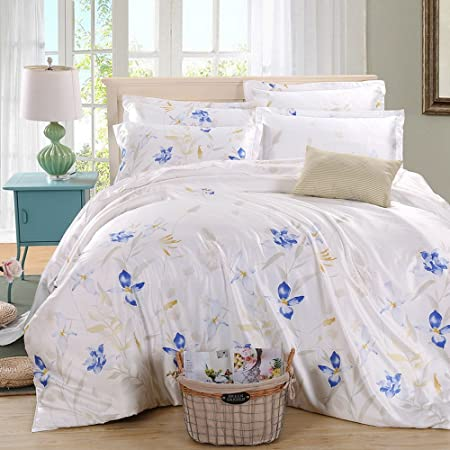 Cushionliu Sleep Naked Ice Silk Solid Color Double Bed Linen Bedding