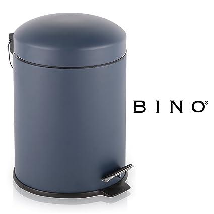 BINO Stainless Steel 1.3 Gallon / 5 Liter Round Step Trash Can, Matte Navy