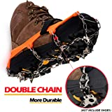 Upgraded Version Of Walk Traction Ice Cleat Spikes Crampons,True Stainless Steel Spikes And Durable Silicone,/Boots For Hiking On Ice&Snow Ground,Mountian.-By EnergeticSky