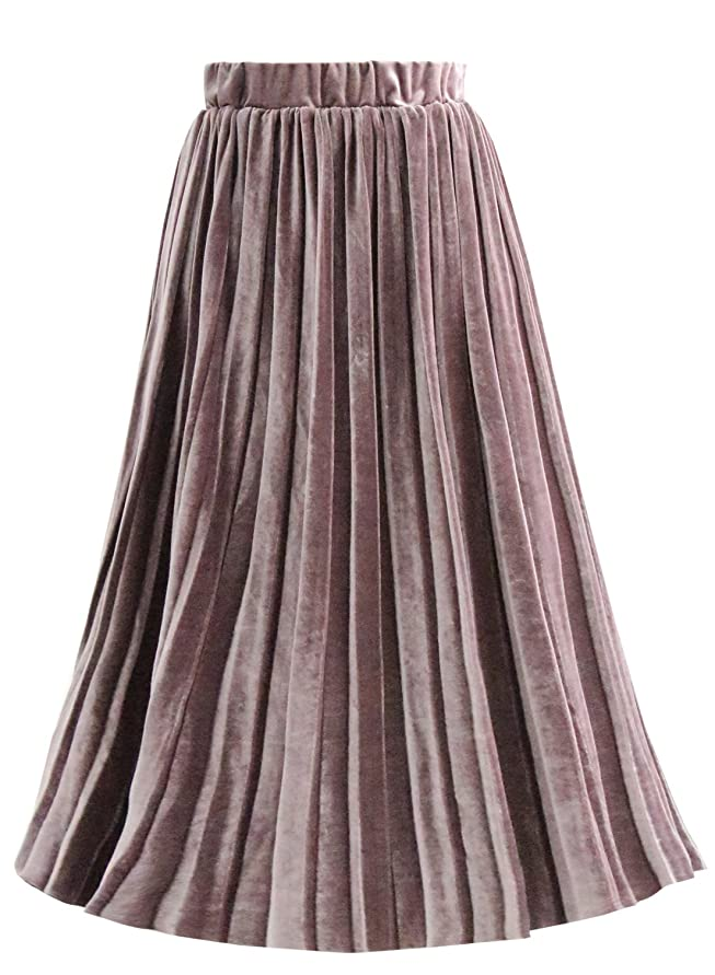 Emondora Women's Retro Elastic High Waist Velvet A-line Pleated Midi Skirt Violet