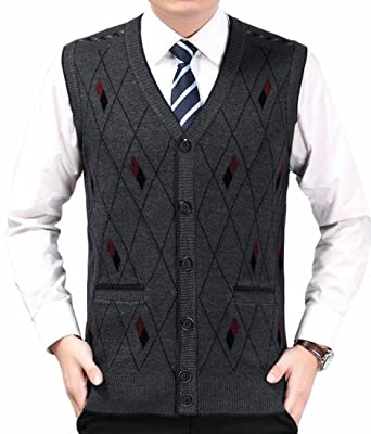 Alion Men's V Neck Wool Cashmere Sleeveless Button Down Sweater ...