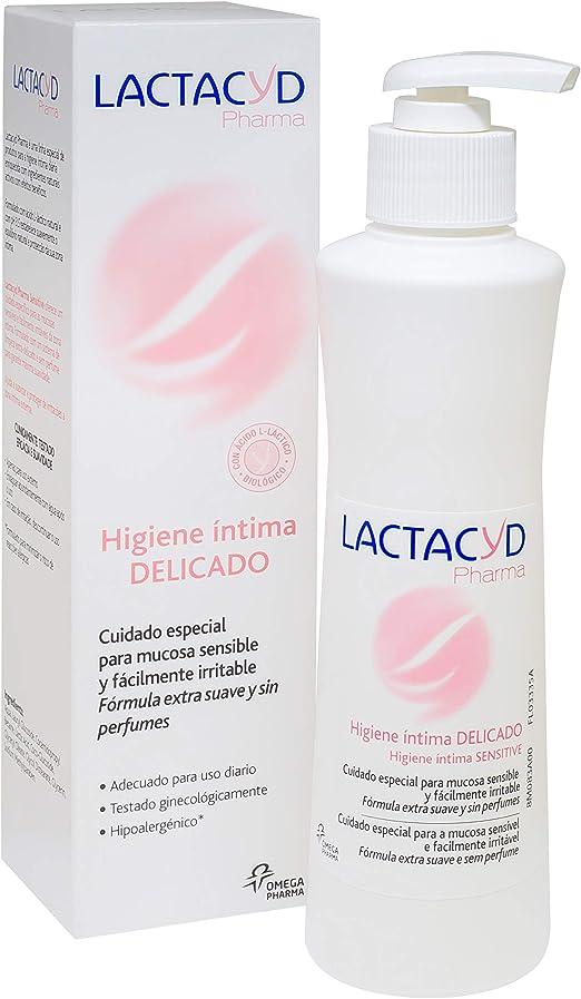 Lactacyd Pharma Delicado - Cuidado especial de uso diario para mucosa sensible y fácilmente irritable, fórmula extra suave, hipoalergénica y sin ...