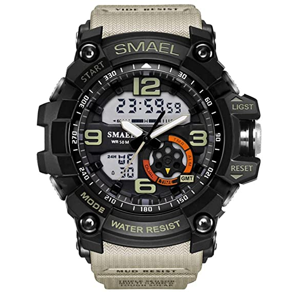 Beydodo Reloj Impermeable Reloj Hombre Reloj Hombre Moda Reloj Deportivo Reloj Multifunción Relojes LED Relojes Electronicos Negro Beige: Amazon.es: Relojes