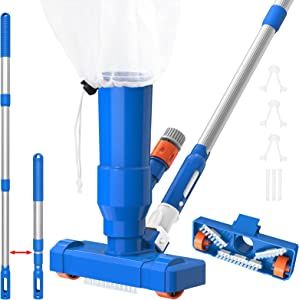 LXun Upgraded Portable Pool Vacuum Jet Cleaner Pond with Brush, Leaf Bag and Thicken Pole of 34'' Ideal for Above Ground and Inflatable Pool, Spa, Pond, Fountain & Hot Tub - Attaches to Garden Hose