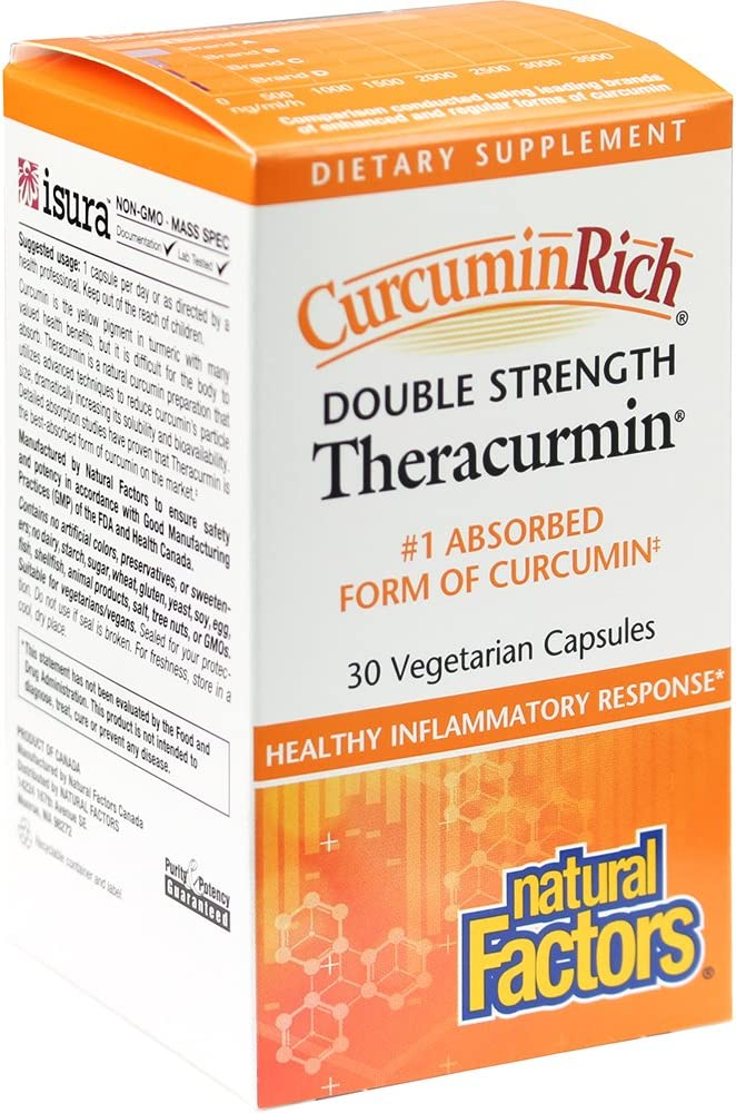 CurcuminRich Double Strength Theracurmin by Natural Factors, Supports Natural Inflammatory Response, Joint and Heart Function, 30 capsules (30 servings)