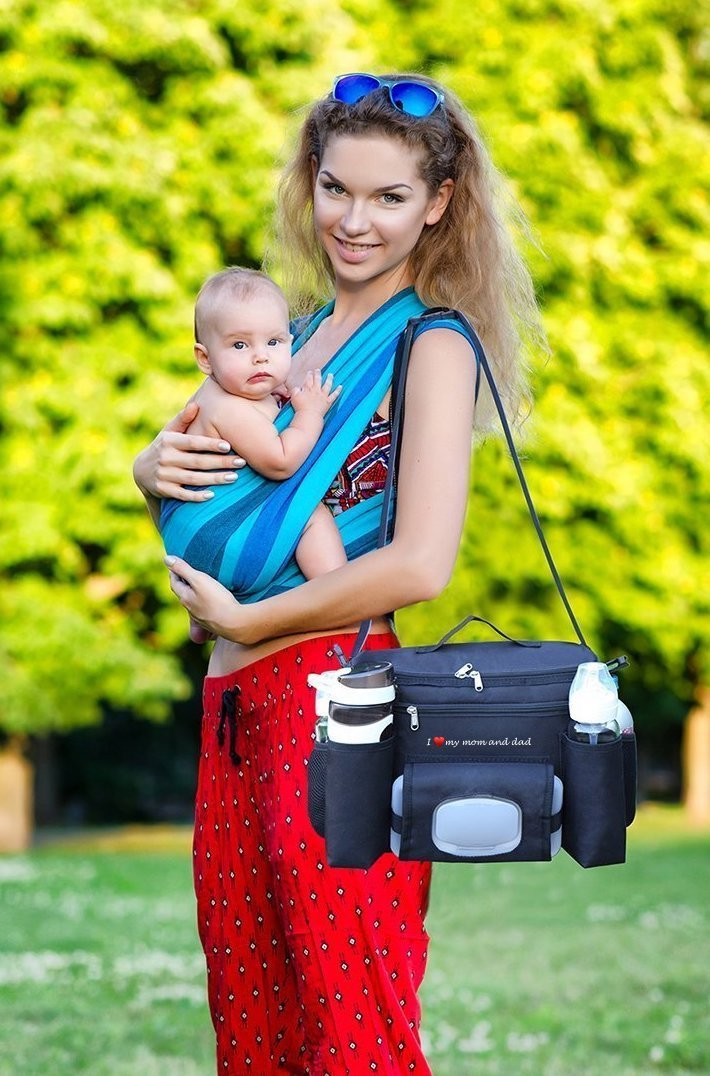 FamCare Premium Stroller Organizer Universal Fit w/Insulated Cup Holders, Wipes Pocket, Zipper and Shoulder Strap - XLarge Storage Space for Phone, Diapers & Toys - The Perfect Baby Shower Gift! by FamCare (Image #5)