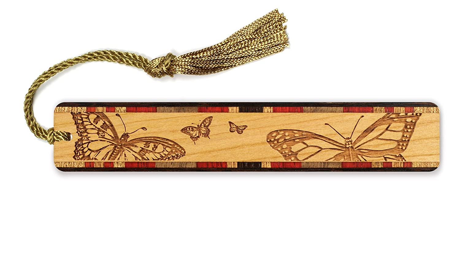 Butterfly and Flower Engraved Colorful Wooden Bookmark with Tassel Mitercraft