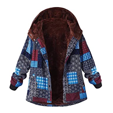 cebfe709028 HLHN Women Jacket Coat Hooded Boho Floral Fleece Winter Plus Size Vinatge Outwear  Windbreaker Long Sleeve