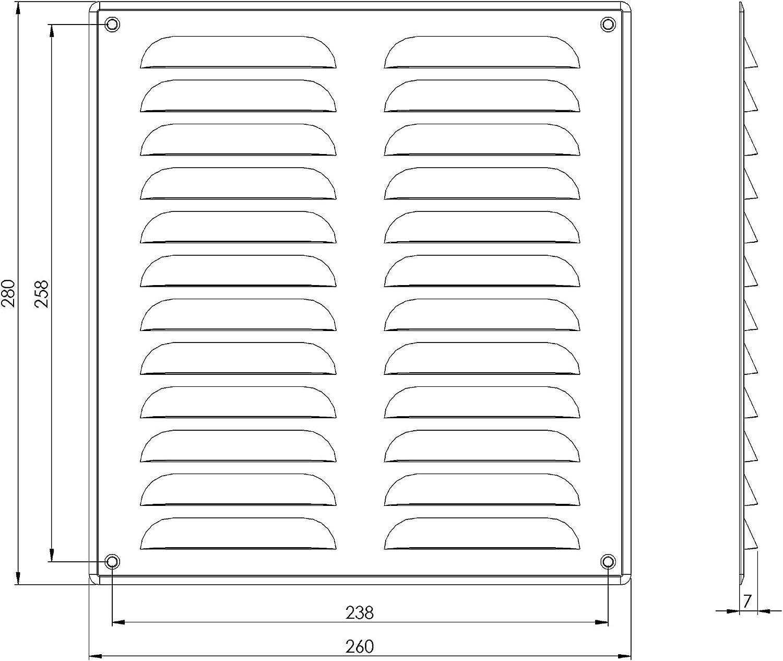 Rejilla de ventilaci/ón de cobre 260 x 280 mm