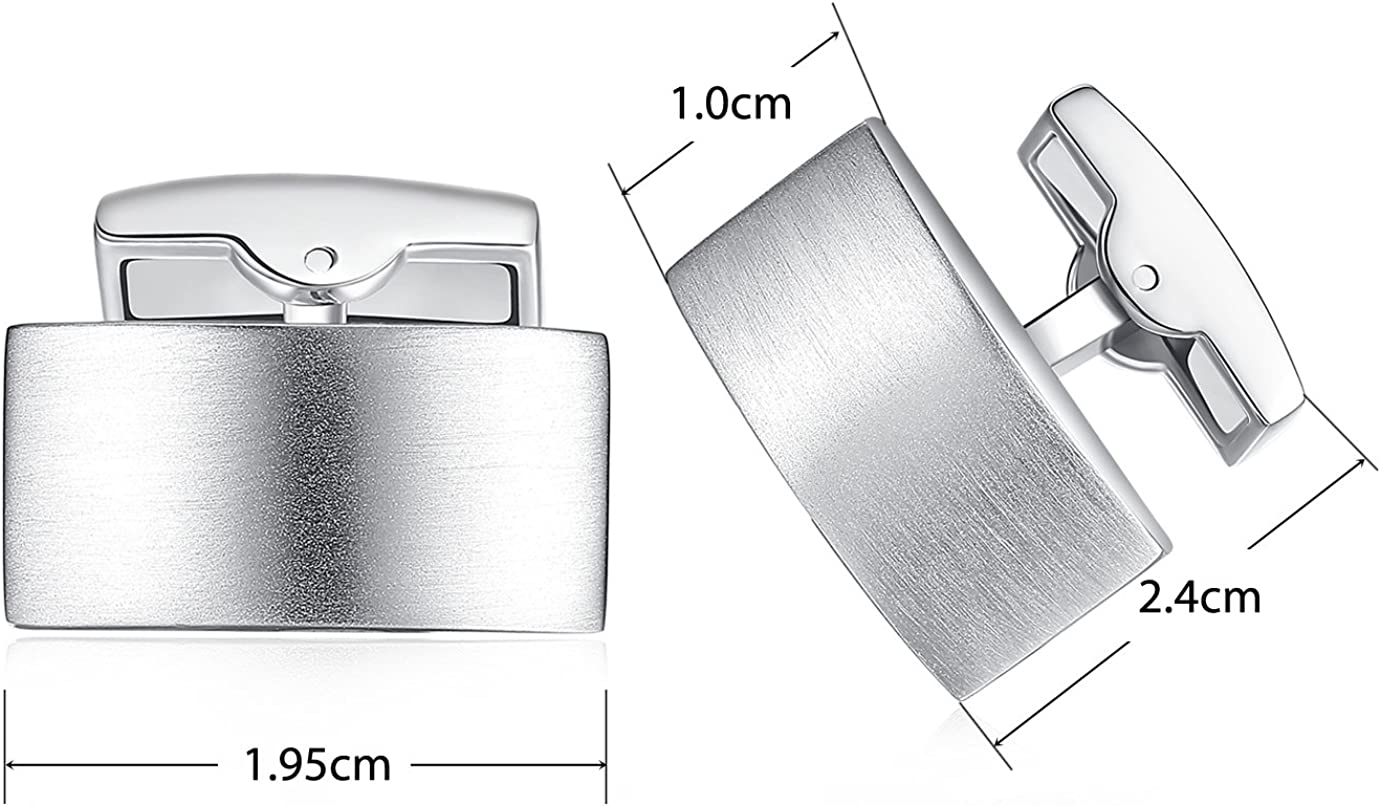 HONEY BEAR Cufflinks for Mens for Business Wedding Gift Rectangle Stainless Steel Brushed Silver