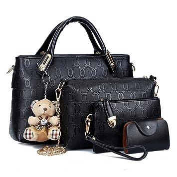 df99eda1eefa Women Bag Top Handle Satchel Handbags Shoulder Bag Tote Purse Bag Set 4  Piece Set Bags