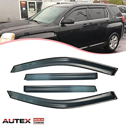 Amazon.com  AUTEX Window Visor Fits for 2010 2011 2012 2013 2014 2015 2016  2017 GMC Terrain Tape On Window Deflector Wind Sun Rain Guards Made in  Taiwan  ... 5f7c0d0d7b3