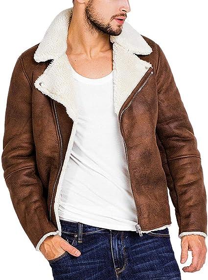 Amazon.com: Small-Dream-Shop Mens Jackets Jacket Men Winter Brown Suede Jacket  Fleece Warm Bomber Coats Male Outwear: Clothing