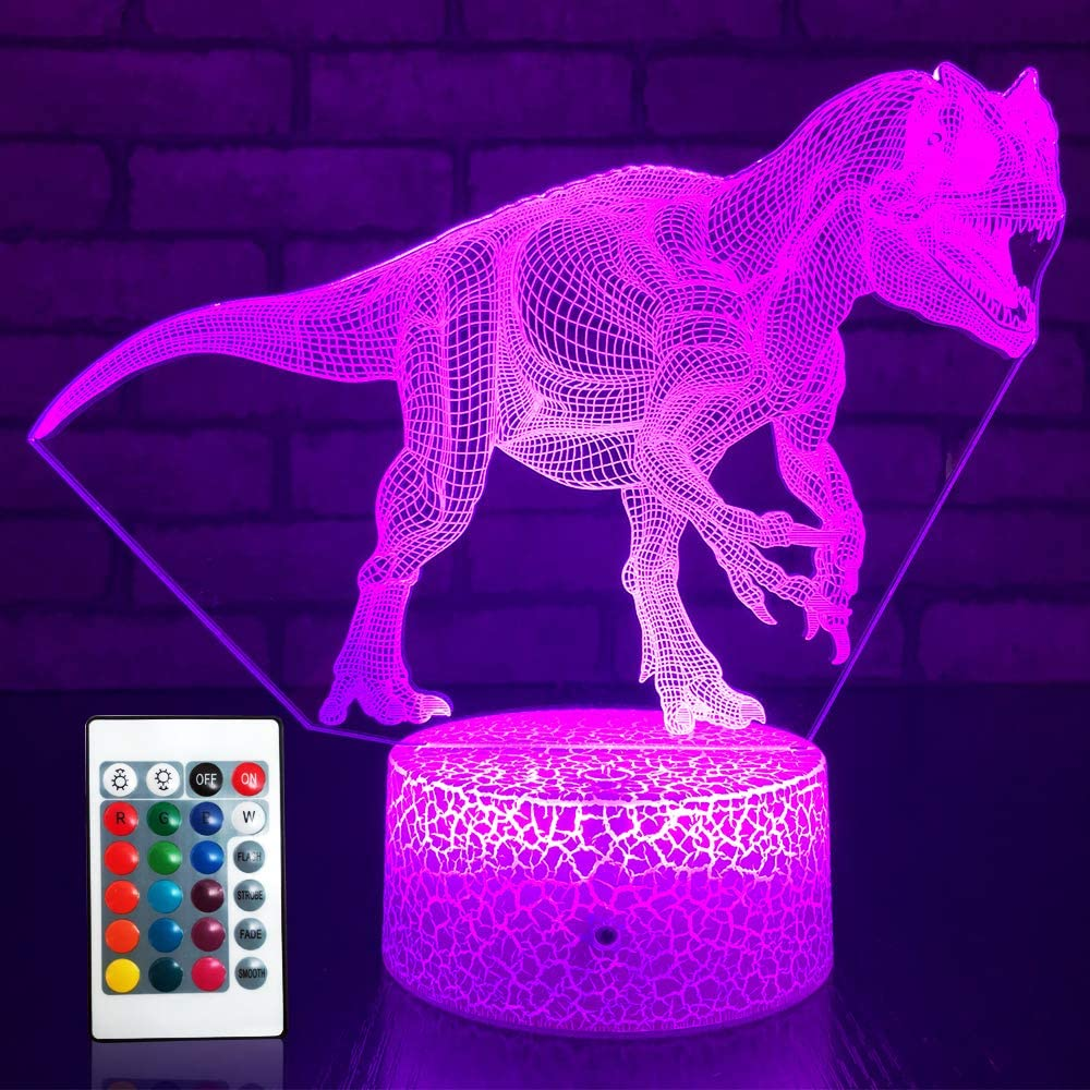SETIFUNI Dinosaur Night Light for Boys Jurassic World Toys Light 16 Colors Changing with Remote Control Optical Illusion Bedside Lamps T Rex Toys for 2 3 4 5 6 7 8 Year Old Boy Gifts