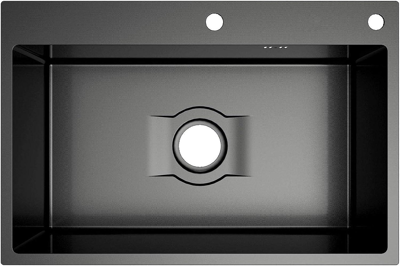 450 mm) HomeLava Fregadero de cocina con dispensador de jab/ón Fregadero empotrado de 1 seno Color negro de acero inoxidable Cesta de drenaje individual con grifo negro (680
