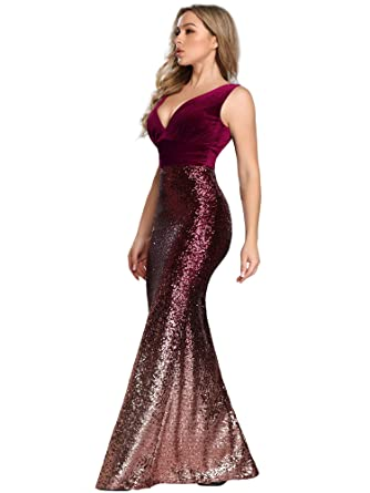 8b2d35dfc37 Ever-Pretty Women Long Velvet and Sequin Mermaid Prom Dresses 4US Burgundy