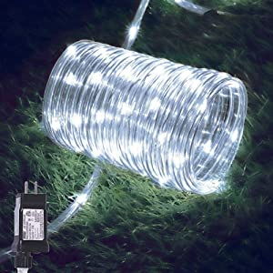 Outdoor Rope Lights, Hopolon 33ft/10M 100LED Waterproof Copper Tube Wire String Lights with 8 Modes 4.5V UL Listed Plug for Garden,Yard, Path, Fence, Stairs,Party Backyard, Patio Decor(Cool White)