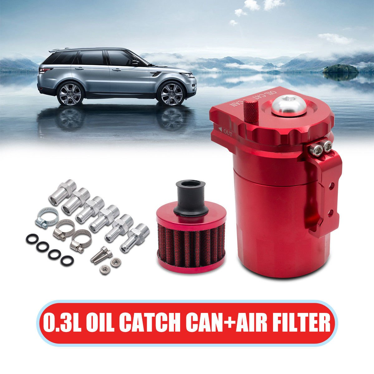 Car Oil Catch Can Reservoir Tank with Air Breather Filter Baffled Universal 0.3L (Red) MASO