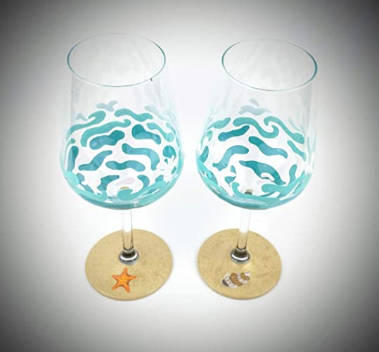 Amazoncom Beach Themed Wine Glasses Hand Painted With Waves