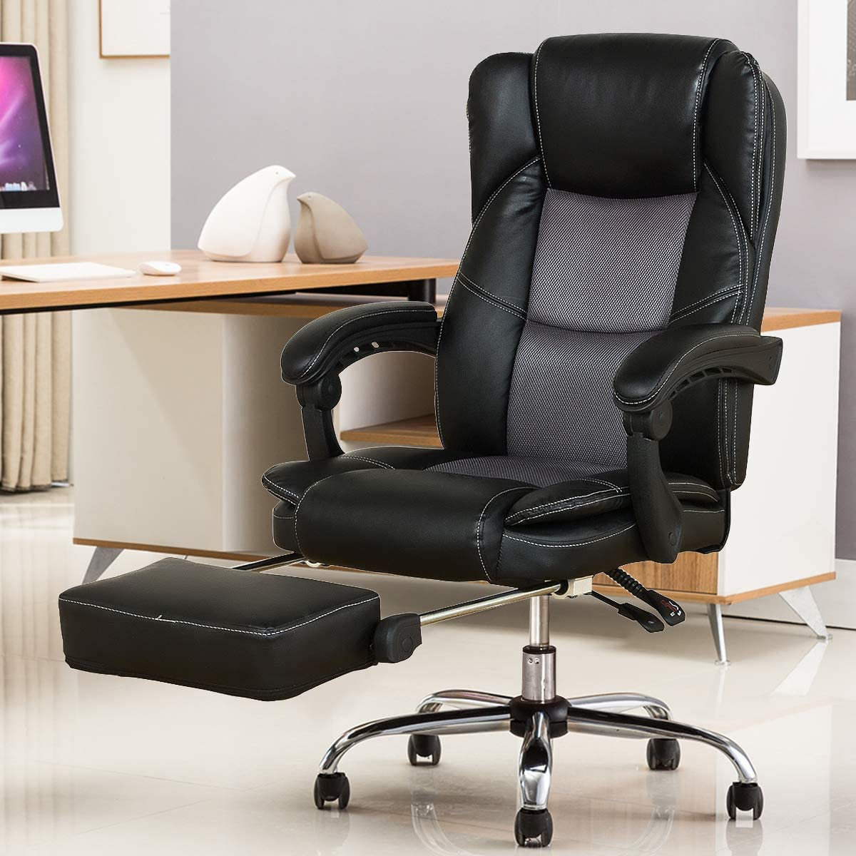 YAMASORO Reclining Office Chair – High Back Executive Chair with Adjustable Angle Recline Locking System and Footrest, Comfort and Ergonomic Design for Lumbar Support,Black