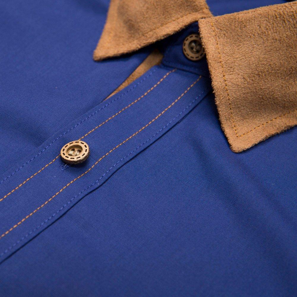 Godathe Mens Casual Soild Color Short Sleeve Shirt Slim Fit Dress Shirt Dot Print Top Blouse