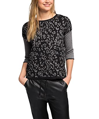 32b3dee00a07d7 edc by ESPRIT Damen Pullover 115CC1I038-mit Jacquard Muster, Schwarz (Black  001)