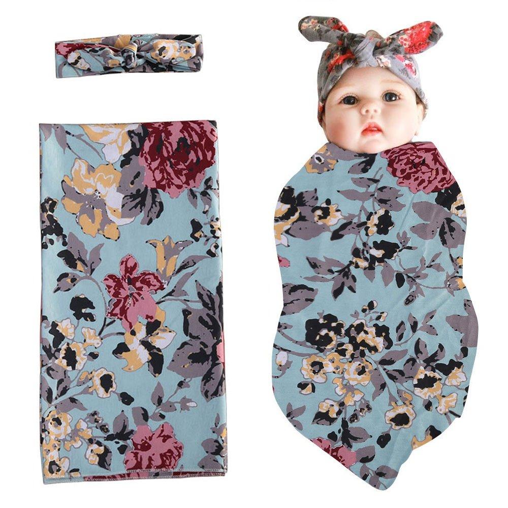 Swaddle Sack,Newborn Baby Boys Girls Sleep Blanket with Bow Headband Set Infants Receiving Blankets(80cm 83cm, Floral(Green))
