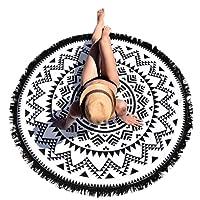 HOT, YANG-YI Round Hippie Tapestry Beach Throw Mandala Towel Yoga Mat Bohemian Blanket Wall Hanging Decor (Black, 60 inches Approx)