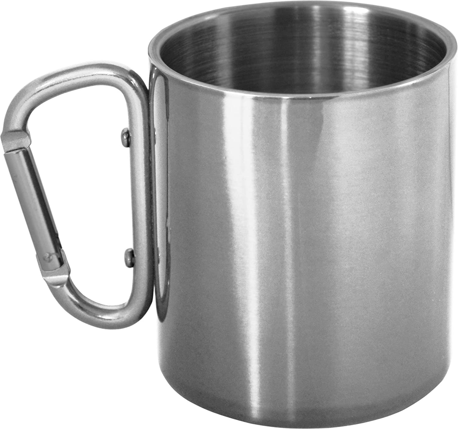 Double Walled Stainless Steel Coffee Cup with Carabiner Hook for Attaching Flask to Rucksack Silber normani 19538304
