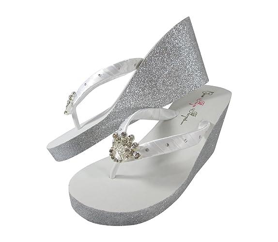 b046b1cd99f74b Amazon.com  Princess Rhinestone Silver Glitter Wedge Flip Flops in High or  Low Heel with Swarovski accents  Handmade